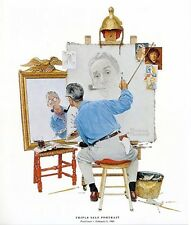 Norman Rockwell Artist Print Triple Self-Portrait