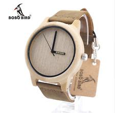 Reloj de Cuarzo láser de Bambú Reloj de pájaro bobo de Madera para hombres y mujeres Personalizadas