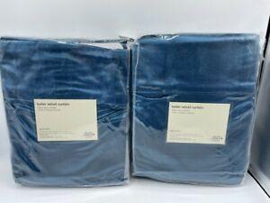 """New West Elm Luster Velvet Drapes 48"""" x 96"""" ~Regal Blue~ Set of 2 Drapes"""