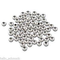 HS 50 Edelstahl Perlen Beads Rund Kugeln Schmuckteile Silberfarbe 4x3mm