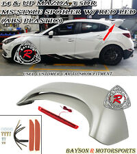 MS-Style Rear Roof Spoiler (ABS) + Red Lens LEDs Fits 14-17 Mazda 3 Hatch 5dr