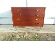 DANISH TEAK CHEST OF DRAWERS CHROME LEGS *FREE DELIVERY RETRO VINTAGE PS SYSTEM