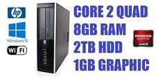 FAST HP Elite Quad Core 8GB 2TB HDD Windows 10 WiFi Gaming Desktop PC