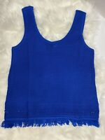 Lilly Pulitzer Womens Size XS Royal Blue Fringed Sweater Tank Top NWOT