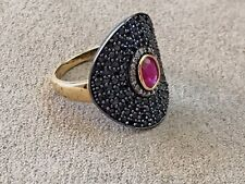Carol Brodie Black Spinel, Champagne Diamond & red Ruby Vermeil Ring Size 10
