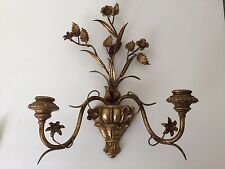 "Vintage Italian? Carved Wood Gilt Metal Floral Candle Wall Sconce 14"" (BC)"
