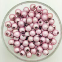 50PCS 8mm 3D Acrylic Pink Round Pearl Spacer Loose Dream Beads Jewelry Making