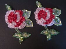 """3 1/2"""" **BEAD - SEQUIN - ROSE** Applique    IRON ON EASE  (2 pc)"""