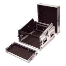 4U Full Flight Rack Case with 10U Mixer Slant Top Silver Alloy Finish