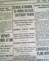 DUNCAN MS & Marks Mississippi TORNADO Outbreak Disaster 1929 Old NYC Newspaper