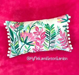 New pillow made with LILLY PULITZER Jungle Lilly fabric With WHITE Poms