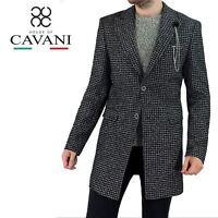 Mens Cavani Wool Mix Houndstooth Designer Trench Coat Crombie Jacket Overcoat