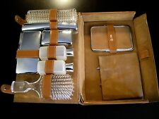 Vintage Travel Toiletry Kit Vanity Grooming Set Leather Cowhide Chrome Lucite