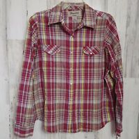 Wrangler Wrancher Women's Large Western Shirt Snap Buttons Long Sleeves Plaid