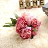 Retro Peony 1 Bouquet Silk Flower Fake Leaf Home Wedding Party Decoration