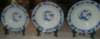 3 Chinese Antique Blue White Stacking Bowls Lotus Border Very Decorative Marked