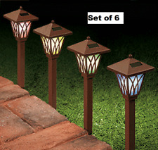 "Mini Solar Path Lights LED Set of 6 Weather Resistant 14"" Length Outdoor Lamps"