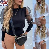 Women's Polka Dot Sheer Mesh Long Puff Sleeve Shirt Tops Loose Casual Blouse US