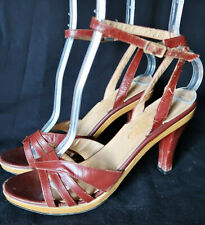70s Leather Wooden Clog stappy Heel Boho Ankle strap 7N Peep Toe Sandal Italy