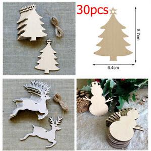 30Pcs MDF Wooden Christmas Tree Shape Xmas Hanging Decor Blanks Craft Gift Lot