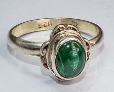 Sterling Silver Traditional Asian Vintage Style Malachite Stone Ring Size P Gift