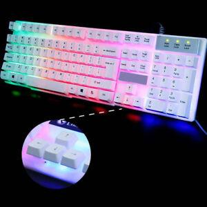 LED Gaming Tastatur Keyboard Maus Set RGB USB für PC Laptop PS4 Slim Mechanisch
