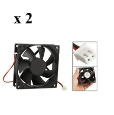 2 X 12V Black 80mm Square Plastic Cooling Fan For Computer PC Case