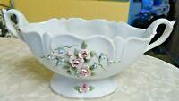 Beautiful Vintage  Lefton 2 Handled White Pink & Blue Bisque Floral Bowl #1783