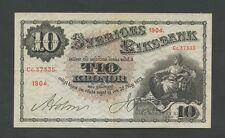 More details for sweden  10 kronor  1904  p20f  vf   world paper money