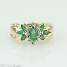 DESINGER 1.25 CT. EMERALD & 0.20 CT. SI1-G DIAMOND RING 14K YELLOW GOLD SIZE US6