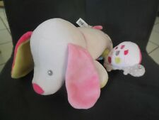 491/ doudou peluche chien couché rose musical tortue fleur SUCRE D'ORGE 21cm