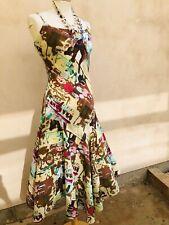 Boho Hippy Festival Rene Derhy 10/12 Algodón Vestido Estampado Abstracto ajuste y estilo