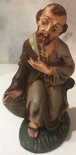 "Joseph Kneeling Nativity Papier Mache Figure Made in Italy 5.5"" tall"