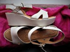 BORN SHOES IVORY LEATHER W BUCKLES WEDGE SANDALS  ! SIZE 11M /42!