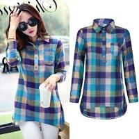 Women Plaid Check Button Down Shirt Casual Long Sleeve Cotton Linen Tops Blouse
