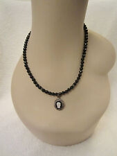 Vintage MOP Cameo Sterling Silver Marcasite Pendant Necklace Jet Black Beads
