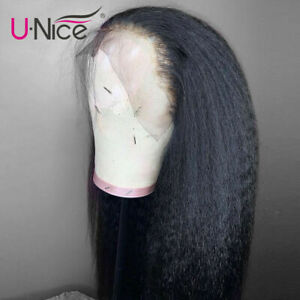 Yaki Kinky Straight Lace Front Wigs Real Peruvian Human Hair Wig Pre Plucked 12""