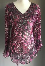 As New Stunning Sheer Pink/Grey/Black Animal Leopard Print Beaded Top Size 12/14