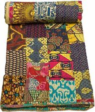 Kantha Quilt Indian Handmade Home Decor Throw Reversible Blanket Bedspread