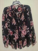 JOIE Sheer Black Floral Print Silk Split Neck Pintack Relaxed Blouse Shirt Top S