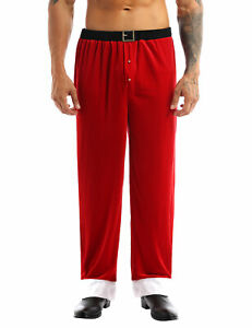 Adult Father Christmas Santa Claus Costume Mens Long Pants Trousers Xmas Cosplay