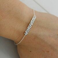Hammered Bar Bracelet - 925 Sterling Silver - Cable Chain Simple Dainty Everyday