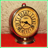4Vintage Mechanical Alarm Clock Slava 11 Jewels Russian USSR Soviet 1980 #24224