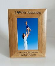 Nephew Photo Frame- I heart-Love My Nephew 5 x 7 Photo Frame - Free Engraving