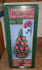 "Fiber Optic Poinsettia Christmas Bradford Novelty 8 STEM ORNAMENT 24"" LONG rare"