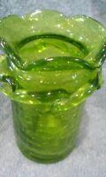 Small Hand Blown Murano Art Style Green Glass Vase