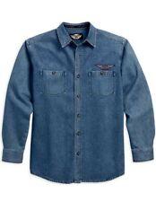 Harley Davidson Motorclothes Men's Long Sleeve Denim Shirt Blue Jean  NWOT XL