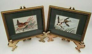 Vintage Set of 2 J&J Cash Ltd Bird Floral Framed Silk Woven Art Coventry England