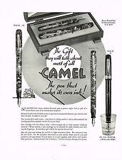 1936 BIG Vintage Camel Fountain Pen Co. Models Pens & Pencil Art Print Ad