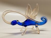 Hand Made Blown Art Glass Winged Bug Character Figurine Made in Russia Blue
